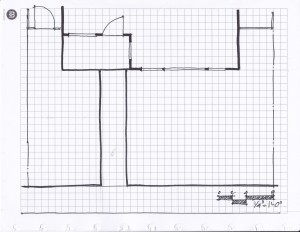 A base map of a front yard showing property lines, house foot print, and existing paving.