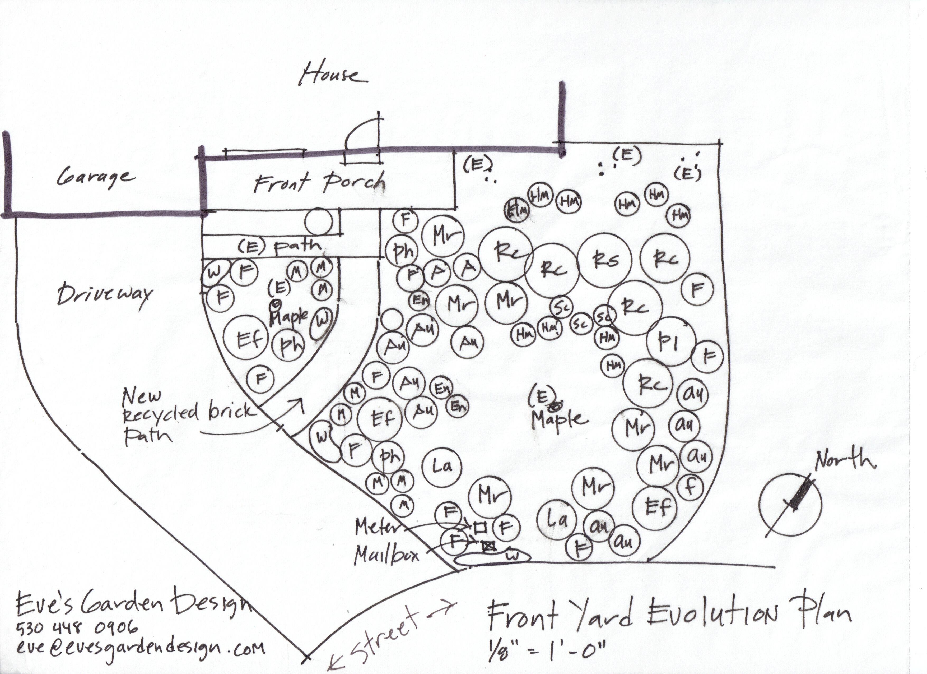 eve's garden design created this front yard evolution plan