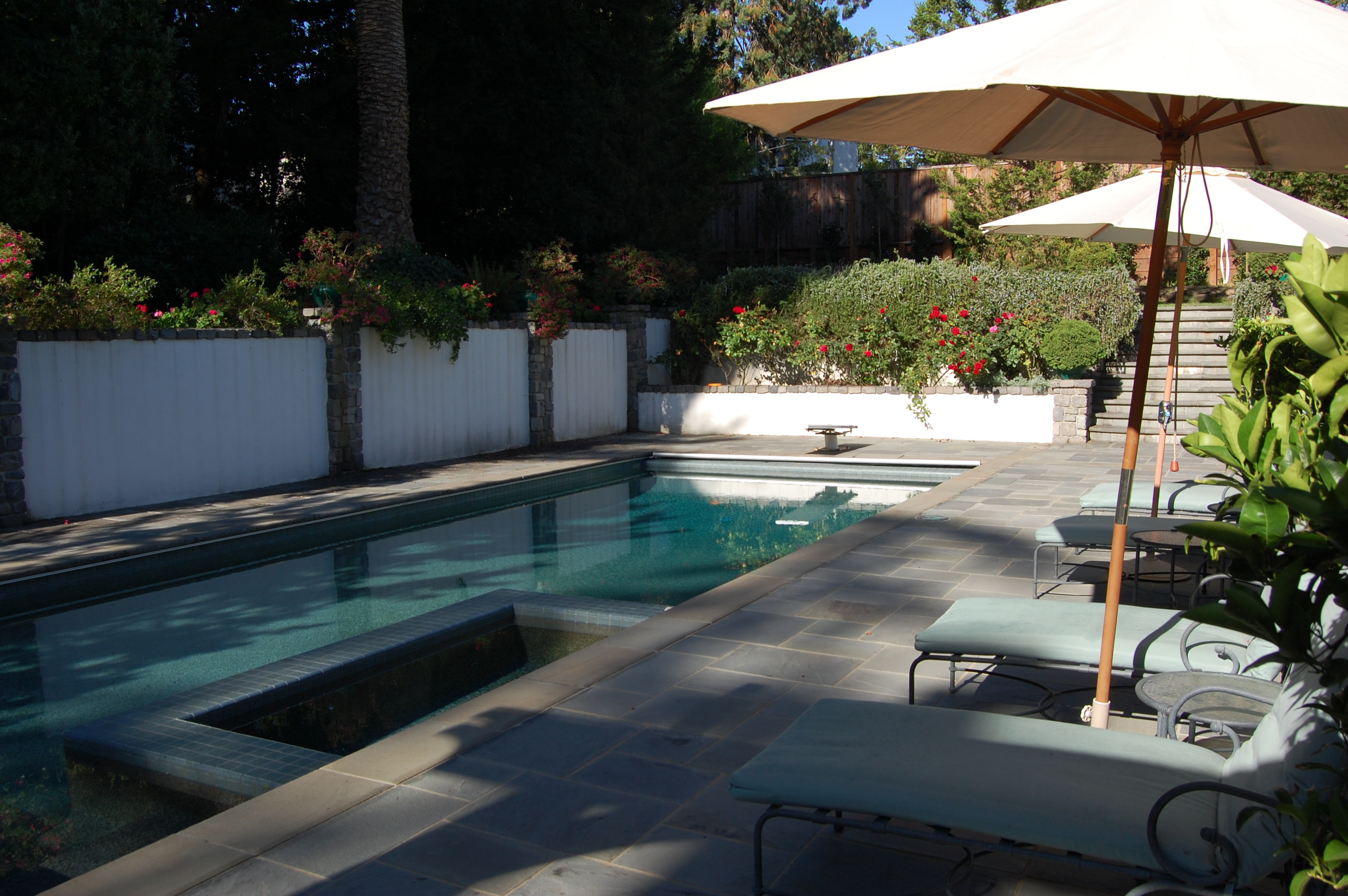 lap pool with spa in Hillsborough, ca